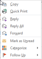 Outlook context menu